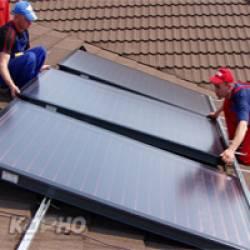 Монтаж систем солнечного нагрева воды