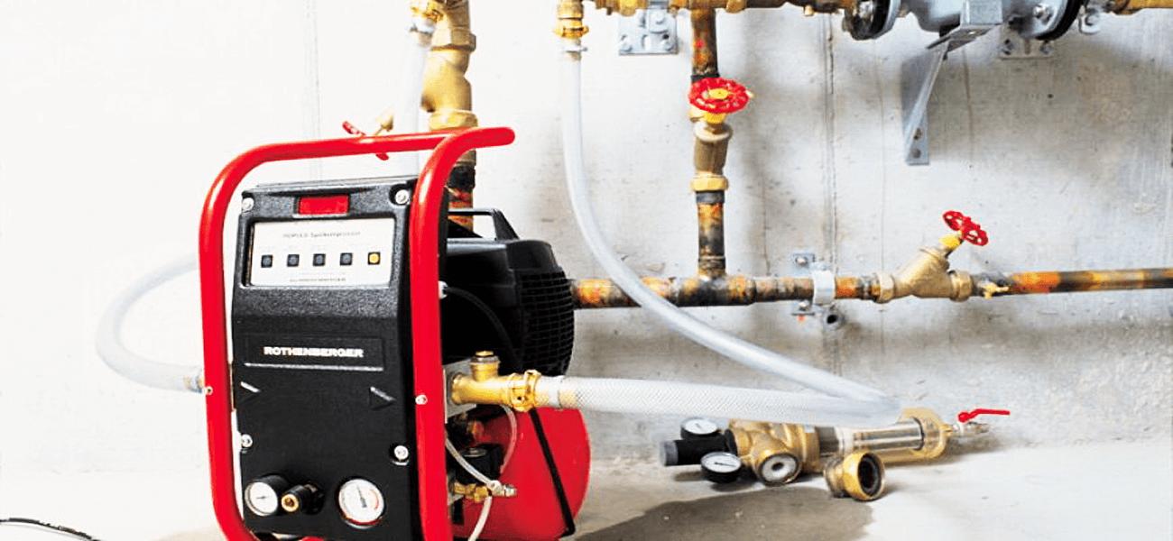 промывка системы отопления компрессором