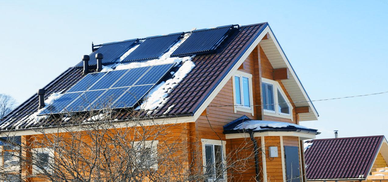 Вакуумний сонячний колектор взимку