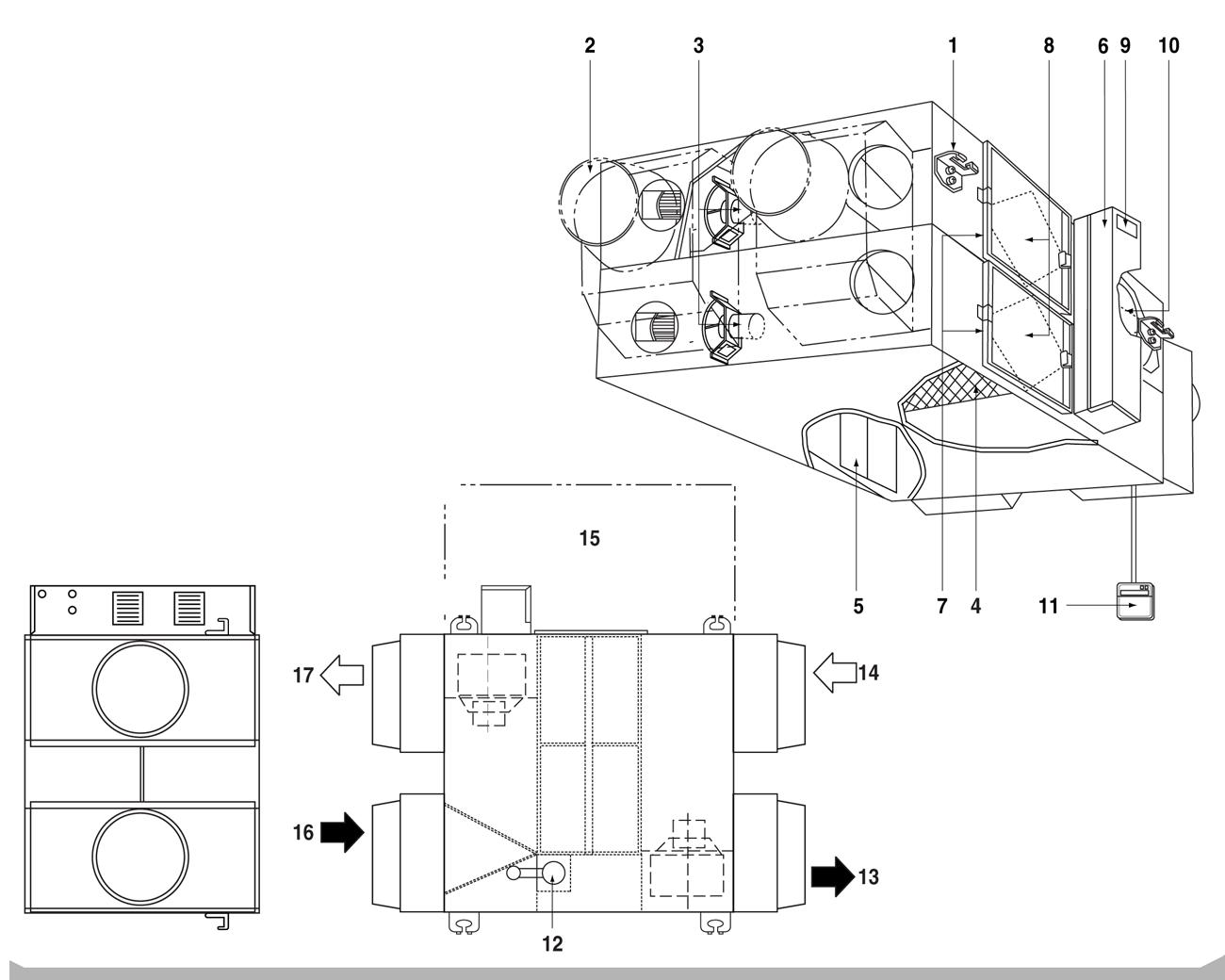 Наименование деталей приточно-вытяжной установки с рекуперацией Daikin VAM1500FC