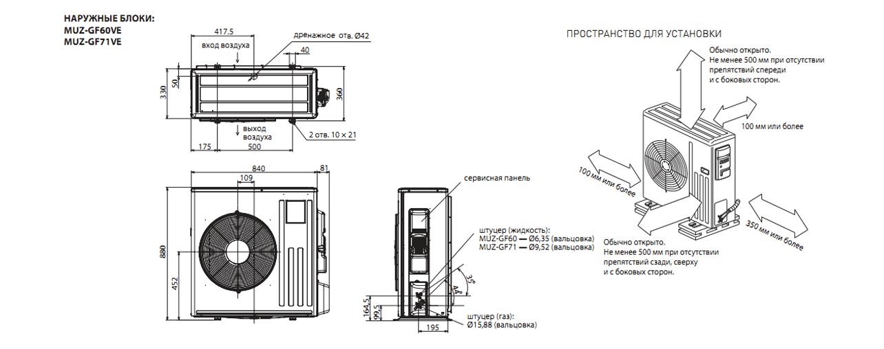 Инверторный настенный кондиционер Mitsubishi Electric MSZ-GF71VE/MUZ-GF71VE