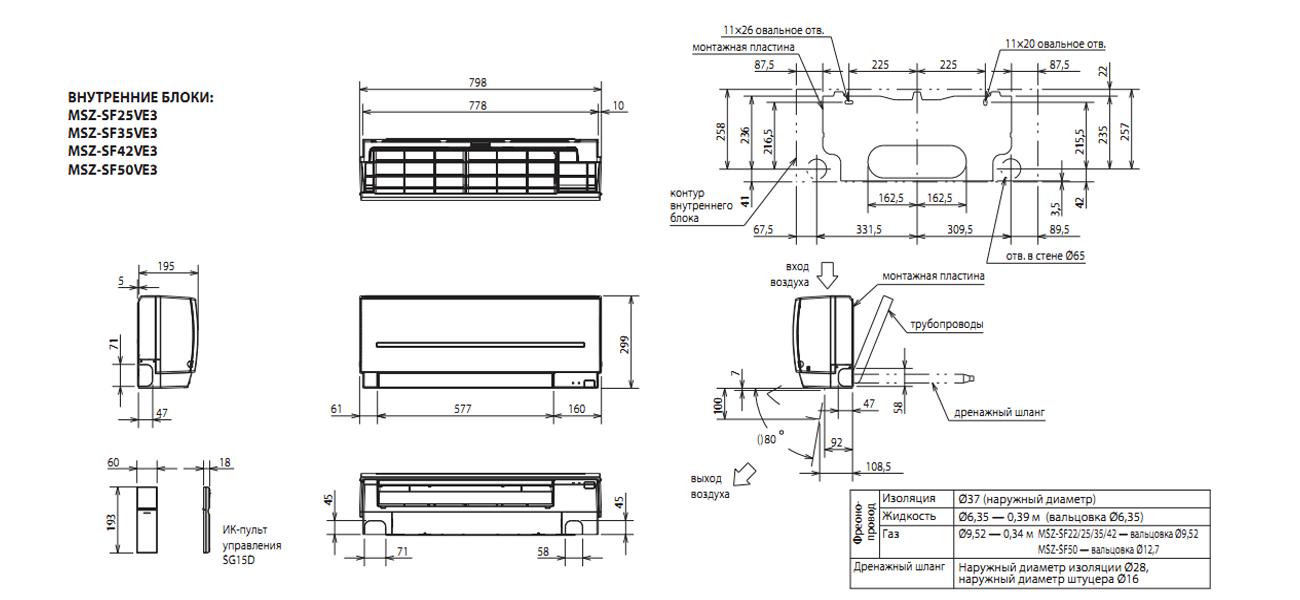 Инверторный настенный кондиционер Mitsubishi Electric MSZ-SF25VE/MUZ-SF25VE