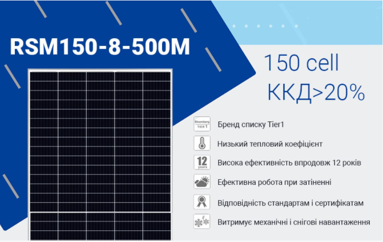 Сонячна панель Risen RSM 150-8-500M TITAN